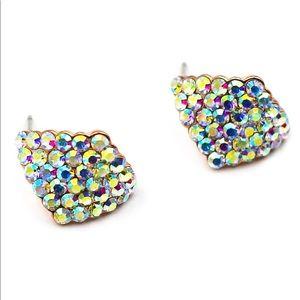 Colorful rhombic crystal earrings